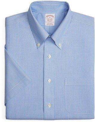 Brooks Brothers Supima® Cotton Non-Iron Traditional Fit Mini Hairline Stripe Short-Sleeve Dress Shirt