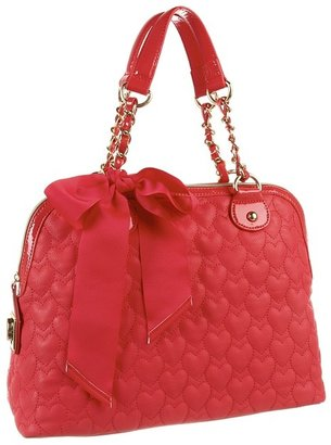 Betsey Johnson Be My One And Only Later Dome Satchel (Guava) - Bags and Luggage