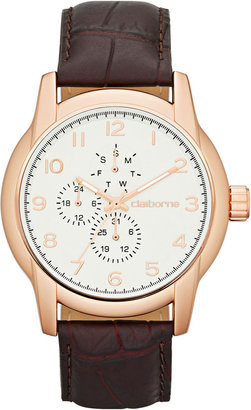 Claiborne Mens Round Dial Brown Leather Multifunction Watch