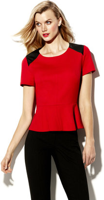 Vince Camuto Pleather Trim Peplum Top