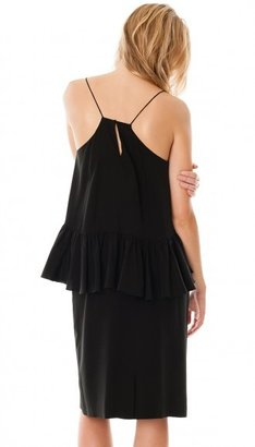 Tibi Silk Strappy Ruffle Dress