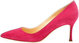 Manolo Blahnik BB Suede 70mm Pump, Fuchsia (Made to Order)