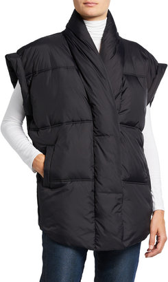 Frame Collared Short-Sleeve Puffer Jacket