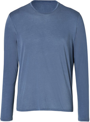 Majestic Cotton Round Neck T-Shirt in China Blue