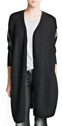 MANGO Faux leather detail knit cardigan
