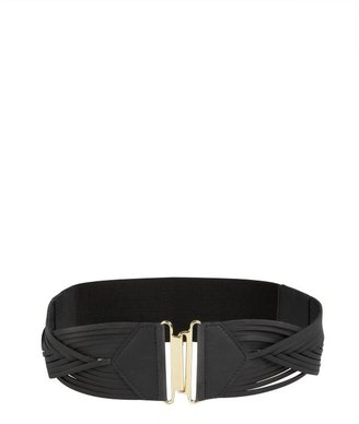 Vince Camuto black braided leather stretch belt