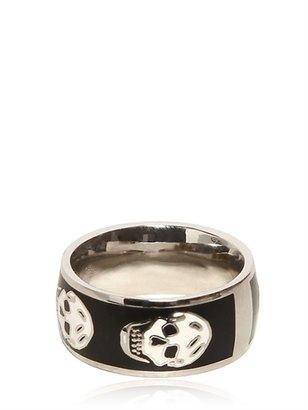 Alexander McQueen Enamel And Brass Skull Ring
