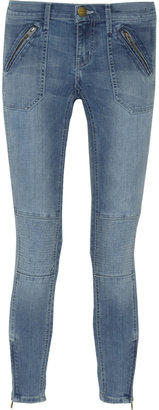 Current/Elliott The Moto Stiletto cropped mid-rise skinny jeans