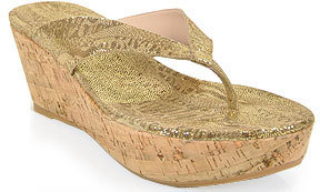 Stuart Weitzman Clasp - Cork Wedge Thong in Swamp