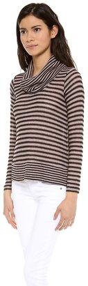 Splendid Deco Stripe Loose Knit Turtleneck