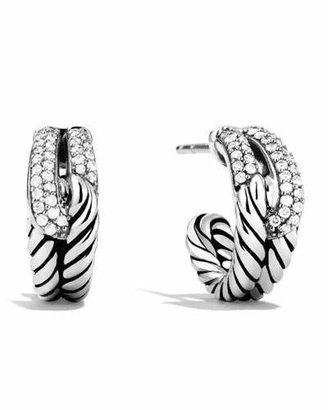 David Yurman Labyrinth Single-Loop Earrings with Diamonds