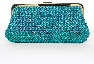 Michael Kors Turquoise Santorini Straw Clutch