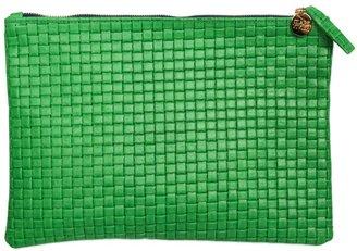 Clare Vivier Green Basket Weave Flat Clutch