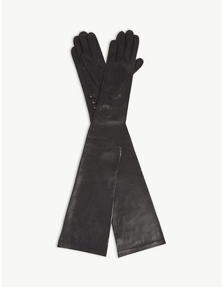 Dents Women's Black Long-Length Leather Musketeer Gloves, Size: 8