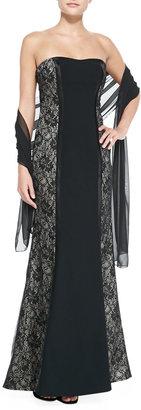Monique Lhuillier Strapless Lace-Panel Gown
