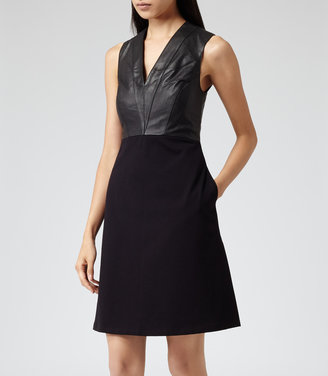Reiss Tennyson LEATHER FIT AND FLARE DRESS