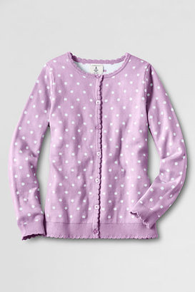 Lands' End Girls' Long Sleeve Scalloped Placket Cardigan Sweater