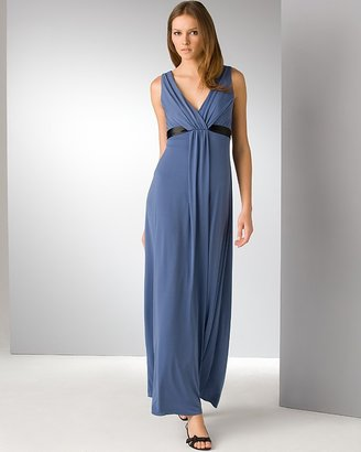 Amsale V-Neck Jersey Gown With Ribbon
