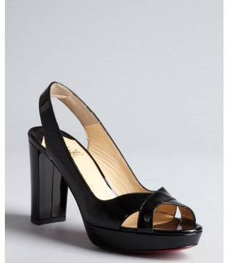 Christian Louboutin black patent leather 'Marpolo' block heel sandals