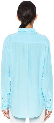 Equipment Signature Blouse in Light Teal
