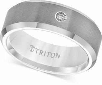 Triton Men Tungsten Carbide Ring, Single Diamond Accent Wedding Band