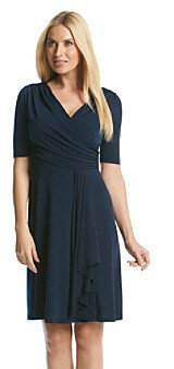 Amy Byer Side Ruched Wrap Front Fit and Flare Dress