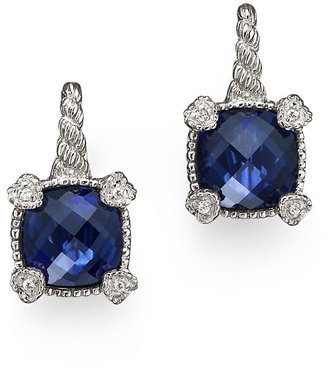 Judith Ripka Sterling Silver Small Cushion Stone Earring with 4 Hearts in Lab-Created Blue Corundum with White Sapphires