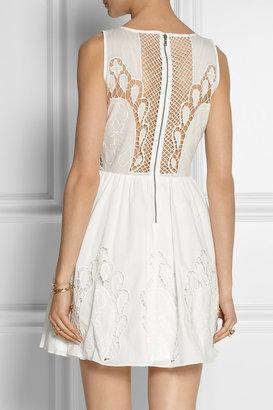 Alice + Olivia Vinny embroidered cotton-poplin mini dress