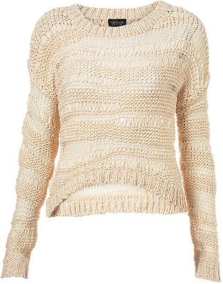 Topshop Knitted Tape Crop Jumper