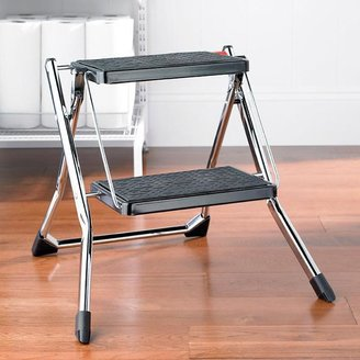 Container Store Slim Folding Step Stool Chrome