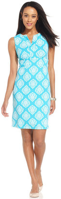 Charter Club Dress, Sleeveless Leaf-Print Sheath