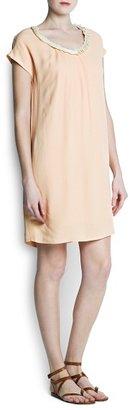 MANGO Outlet Embellished Neckline Dress