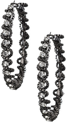 Blu Bijoux Gunmetal Twisted Box Chain Hoop Earrings