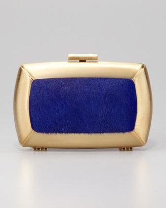 BCBGMAXAZRIA Liza Calf-Hair Minaudiere, Blue