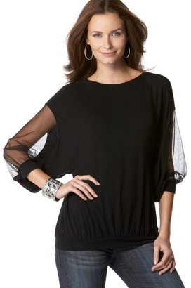 Nine West Sheer-Sleeve Banded-Hem Top