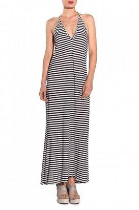 JOSA Low V Halter Cover Up Dress - Black Stripe
