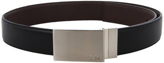 Lacoste Reversible Feather Edge Strap With Stitch (Black/Brown) - Apparel