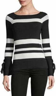 INC International Concepts Petite Striped Bell-Sleeve Top