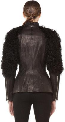 Alexander McQueen Fur Sleeves Biker Jacket in Black