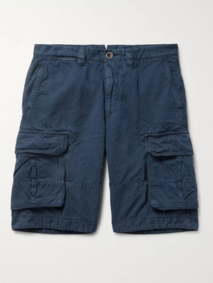 Incotex Washed Cotton and Linen-Blend Cargo Shorts - Men - Blue