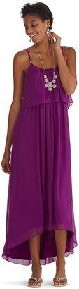 White House Black Market Ruffle Flounce High-Low Maxi Dress