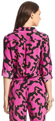 Diane von Furstenberg Long Sleeve Silk Blouse with Collar