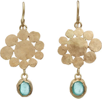 Judy Geib Emerald Cabochon Flowery Earrings