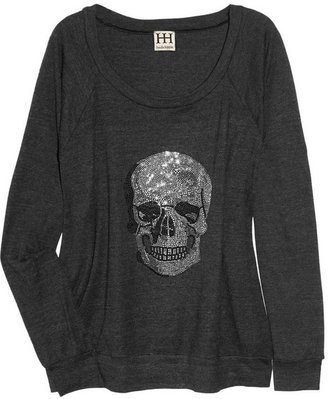 Haute Hippie Crystal skull-embellished jersey sweater