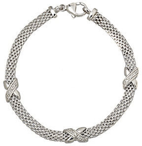 Lord & Taylor Sterlnig Silver Cage Bracelet with Diamonds