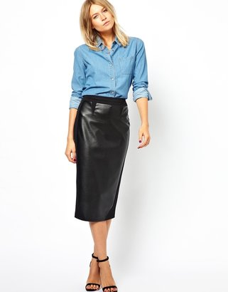 Asos Pencil Skirt with PU Front