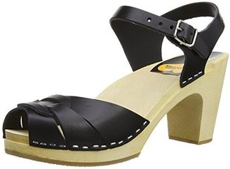 Swedish Hasbeens Women's Peep Toe Super High Platform Sandal,Black,36 EU (US Women's 6 M)