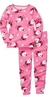 Carter's Girls' 12M-4T Pink 2-pc. Long Sleeve Santa Print Pajama Set