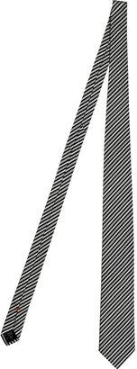 Jil Sander Navy/White Striped Cotton-Silk Tie