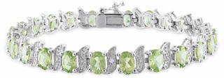 CONCERTO 0.03 TCW Diamond and Peridot Sterling Silver Bracelet
